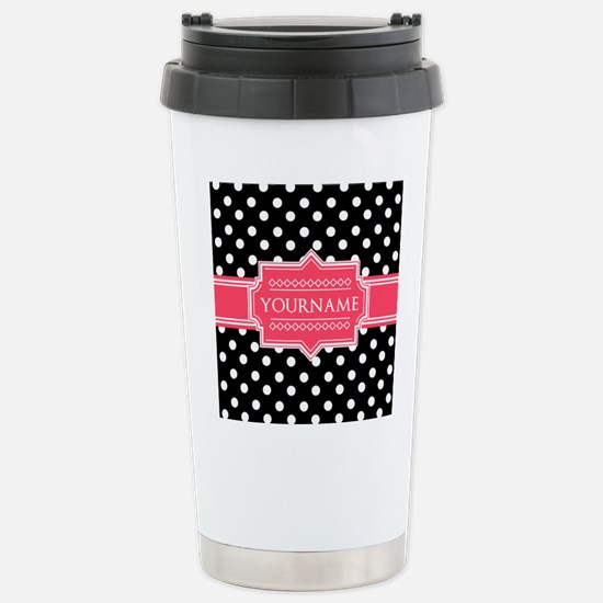 Chic Polka Dot Monogram Stainless Steel Travel Mug