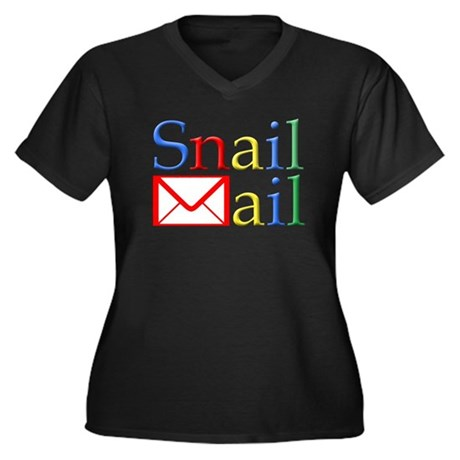 Snail Mail Women's Plus Size V-Neck Dark T-Shirt