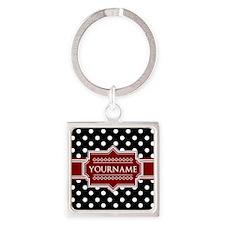 Red Black Polka Dot Monogram Square Keychain