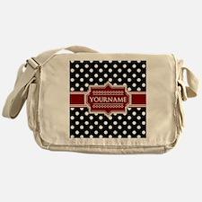 Red Black Polka Dot Monogram Messenger Bag