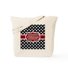 Red Black Polka Dot Monogram Tote Bag