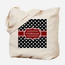 Red Black Polka Dot Monogram Tote Bag