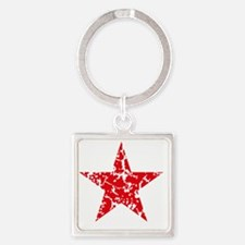 Red Star Vintage Square Keychain