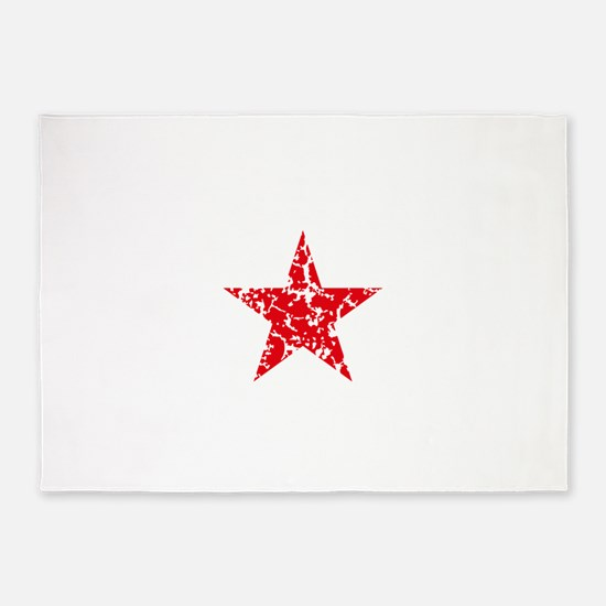 Red Star Vintage 5'x7'Area Rug
