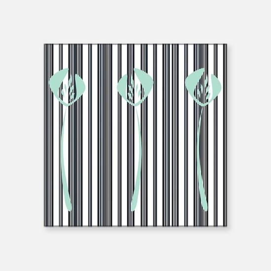 "Chic Floral Stripes Square Sticker 3"" x 3"""
