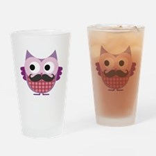 Cute Pink mustache Drinking Glass