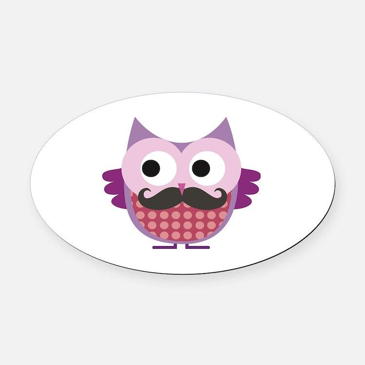 Cute Owl mustache Oval Car Magnet