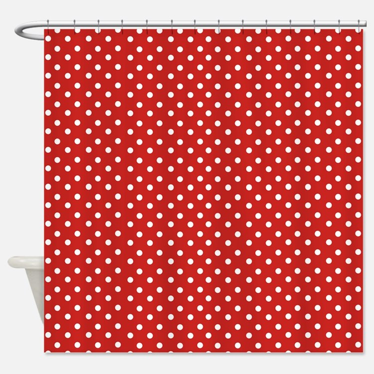 ... Dot Shower Curtains | Red White Polka Dot Fabric Shower Curtain Liner