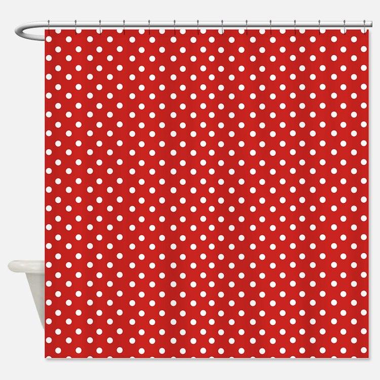 Polka dot shower curtains red white polka dot fabric shower curtain