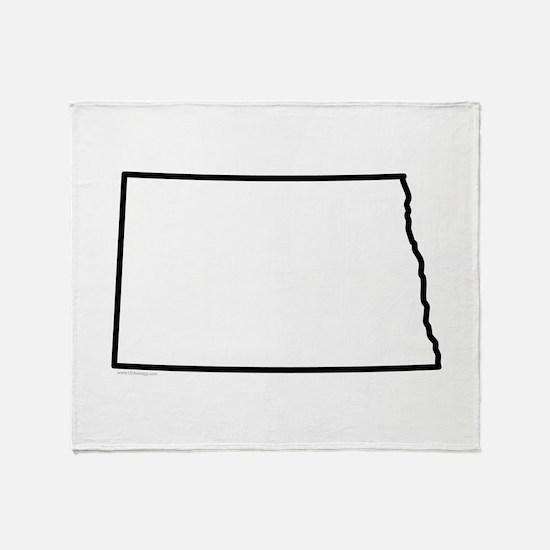North Dakota State Outline Throw Blanket