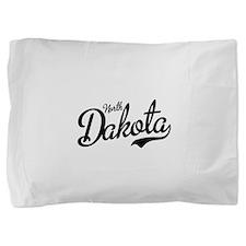 North Dakota Script Black Pillow Sham