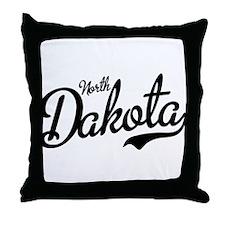 North Dakota Script Black Throw Pillow