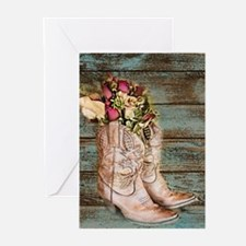 primitive barnwood cowboy boots Greeting Cards