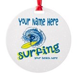 Surfing Round Ornament