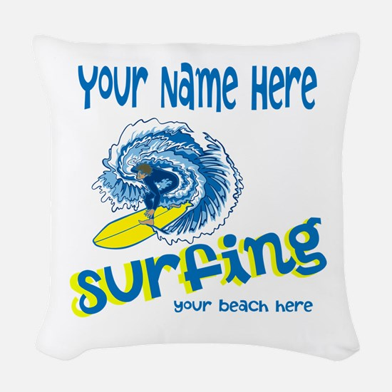 Surfing Woven Throw Pillow