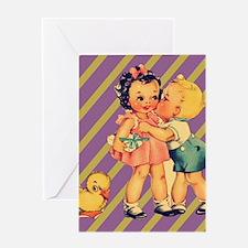 retro purple stripes cute kids Greeting Cards