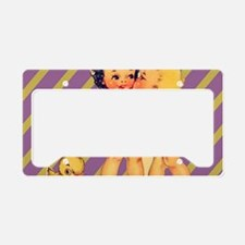 retro purple stripes cute kid License Plate Holder