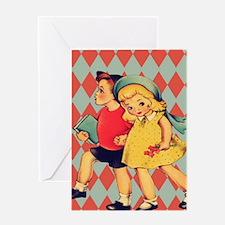 retro pattern school vintage kids Greeting Cards