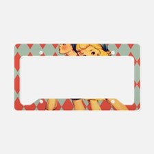 retro pattern school vintage License Plate Holder