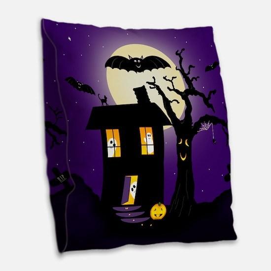 Halloween Pumpkin Haunted House Burlap Throw Pillo