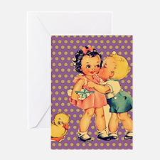 purple polka dots retro kids Greeting Cards