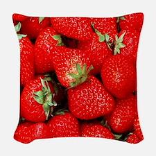 Strawberry Flip Woven Throw Pillow