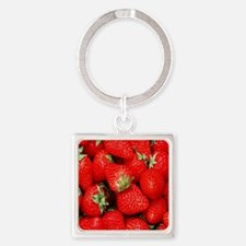 Strawberry Flip Square Keychain