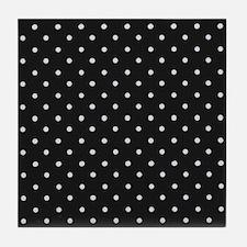 Black and White Polka Tile Coaster
