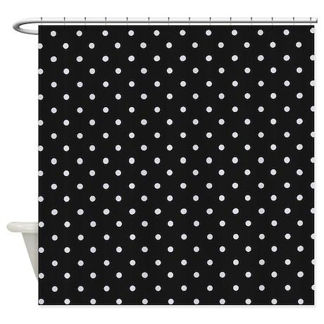Lovely Black And White Polka Shower Curtain