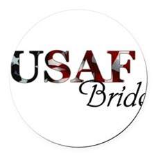 Bride USAF_flag .png Round Car Magnet