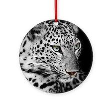 White Leopard Round Ornament