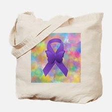 Purple Awareness Ribbon Tote Bag