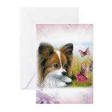 Dog 123 Papillon Greeting Cards