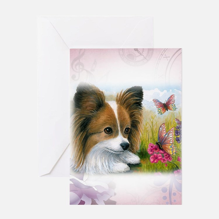 Dog 123 Papillon Greeting Cards