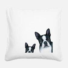Dog 128 Boston Terrier Square Canvas Pillow
