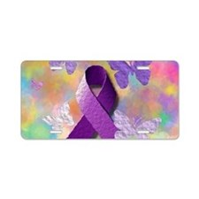 Purple Awareness Ribbon Aluminum License Plate