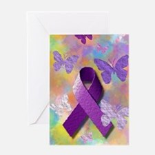 Purple Awareness Ribbon Greeting Cards