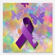 "Purple Awareness Ribbon Square Car Magnet 3"" x 3"""