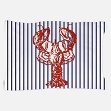 blue nautical stripes vintage lobster Pillow Case