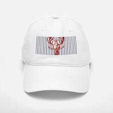 blue nautical stripes vintage lobster Baseball Baseball Cap