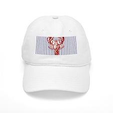 blue nautical stripes vintage lobster Baseball Cap