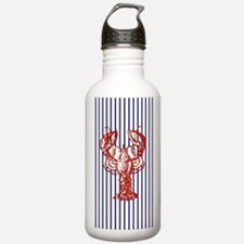 blue nautical stripes Water Bottle