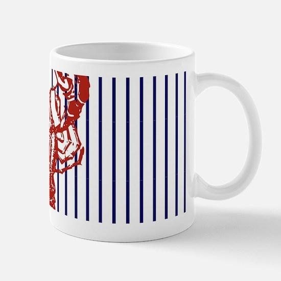 blue nautical stripes vintage lobster Mugs