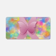 Pink Awareness Ribbon Aluminum License Plate