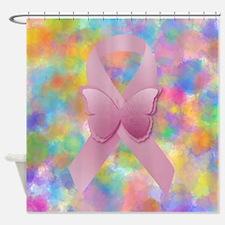 Pink Awareness Ribbon Shower Curtain