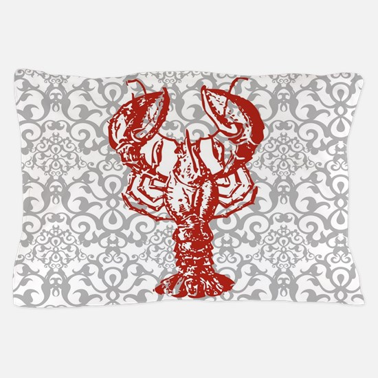 gray damask red lobster Pillow Case