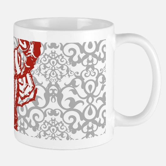 gray damask red lobster Mugs