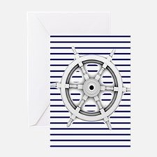 ship wheel blue nautical stripes Greeting Cards