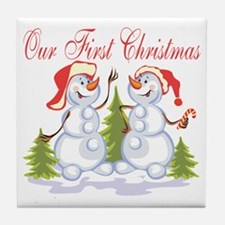 Our First Christmas (Snowmen) Tile Coaster