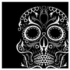 Hear Sugar Skull BLK Poster